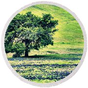 Hill Country Scenic Hdr Round Beach Towel