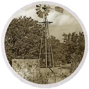 Hill Country Windmill Round Beach Towel