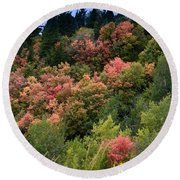 Hill Side Colors Round Beach Towel