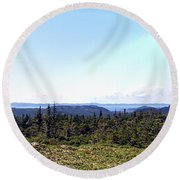 Hill View - Summer - Berry Picking Barrens Round Beach Towel