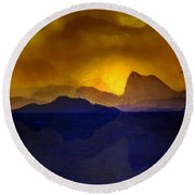 Hills In The Distance At Sunset Round Beach Towel
