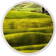 Hills Of Toscany Round Beach Towel
