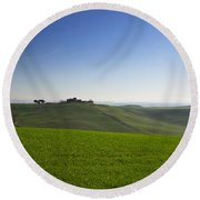 Hills On The Field Round Beach Towel