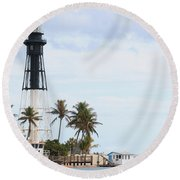 Hillsboro Lighthouse In Florida Round Beach Towel