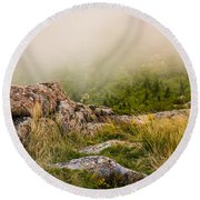 Hillside Haze Round Beach Towel