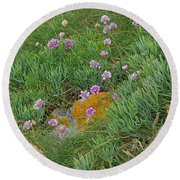 Hillside Of Wildflowers Round Beach Towel