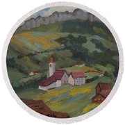 Hilltop Village Switzerland Round Beach Towel