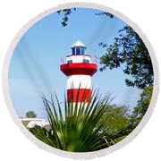 Hilton Head Lighthouse And Palmetto Round Beach Towel