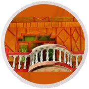 A Beautiful Balcony - Himalaya India Round Beach Towel