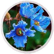 Himalayan Blue Poppy Flower Round Beach Towel