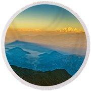 Himalayan Mountains View From Mt. Shivapuri Round Beach Towel