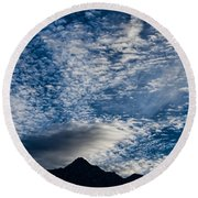 Himalayan Skies Round Beach Towel