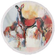 Hinds In Winter Round Beach Towel