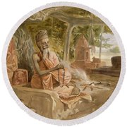 Hindu Fakir, From India Ancient Round Beach Towel