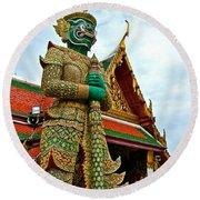 Hindu Figure At Grand Palace Of Thailand In Bangkok Round Beach Towel