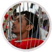 Hindu Thaipusam Festival Pierced Devotee In Singapore Round Beach Towel