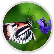 Hint Of Red Butterfly Round Beach Towel