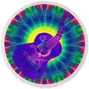 Hippie Guitar Round Beach Towel