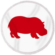 Hippo In Red And White Round Beach Towel
