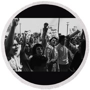 Hispanic Anti-viet Nam War Rally Tucson Arizona 1971 Black And White Round Beach Towel