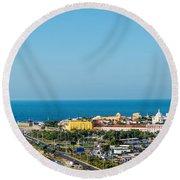 Historic Cartagena And Sea Round Beach Towel