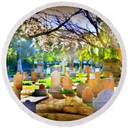 Historic Cemetery  Round Beach Towel