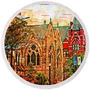 Historic Churches St Louis Mo - Digital Effect 6 Round Beach Towel