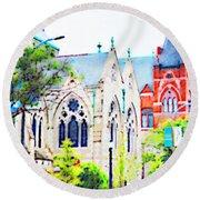 Historic Churches St Louis Mo - Digital Effect 7 Round Beach Towel