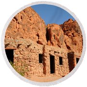Historic Civilian Conservation Corps Stone Cabins In The Valley Of Fire Round Beach Towel