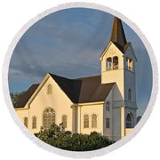 Historic Country Church Art Prints Round Beach Towel