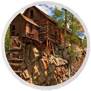 Historic Crystal Mill Round Beach Towel by Adam Jewell