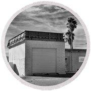 Historic Estrella Gas Station Desert Hot Springs Round Beach Towel