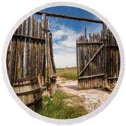 Historic Fort Bridger Gate - Wyoming Round Beach Towel
