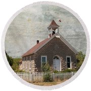 Historic Hinerville School  House  Round Beach Towel