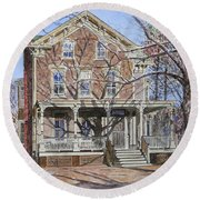 Historic Home Westifled New Jersey Round Beach Towel