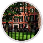Historic Homes Of Beacon Hill, Boston Round Beach Towel