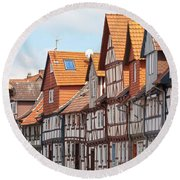 Historic Houses In Germany Round Beach Towel