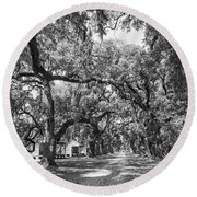 Historic Lane Bw Round Beach Towel