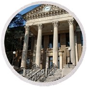 Historic Limestone County Courthouse In Athens Alabama Round Beach Towel
