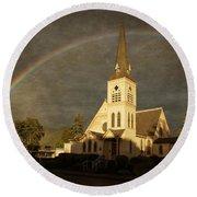 Historic Methodist Church In Rainbow Light Round Beach Towel