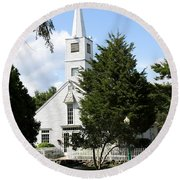 Historic Mystic Church - Connecticut Round Beach Towel