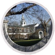 Historic Nantucket Church Round Beach Towel