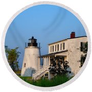 Historic Piney Point Lighthouse Round Beach Towel