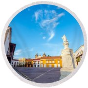 Historic Plaza In Cartagena Colombia Round Beach Towel