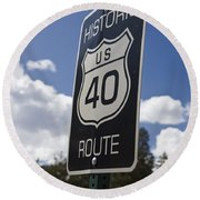 Historic Route Us 40 Sign Round Beach Towel