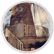 Historic Schonhoff Dutch Mill Round Beach Towel
