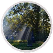 Historic Sibley Cemetery At Fort Osage Missouri Round Beach Towel