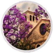Historic Sierra Madre Congregational Church Among The Purple Jacaranda Trees  Round Beach Towel