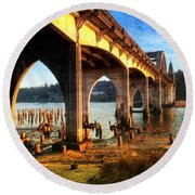 Historic Siuslaw River Bridge Round Beach Towel