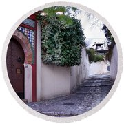 Historic Street At Albaycin In Granada' Round Beach Towel